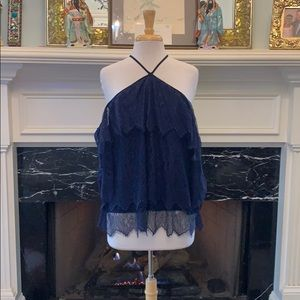 NWT Navy Chantilly Lace, cold shoulder top